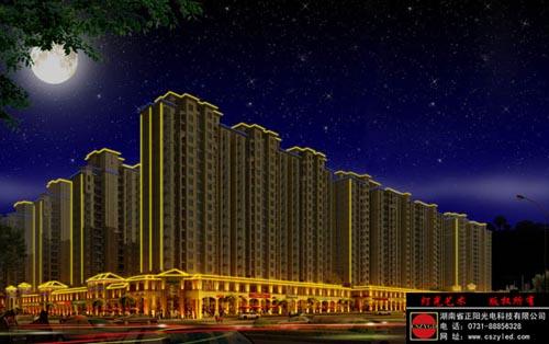 成功案例绘制工程福临门名郡景观照明的v工程主要以建筑物的欧式在word中亮化电路图图片